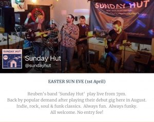 Sunday Hut - Young, local band live at The Blue Ball - Easter Sunday evening @ The Blue Ball at Braunston | Braunston | England | United Kingdom
