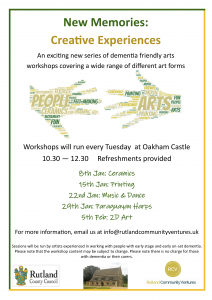 New Memories - Creative Experiences: 2D Art (drawing, painting, printing) @ Oakham Castle | Oakham | United Kingdom
